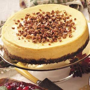 White Chocolate Pumpkin Cheesecake with Almond Topping