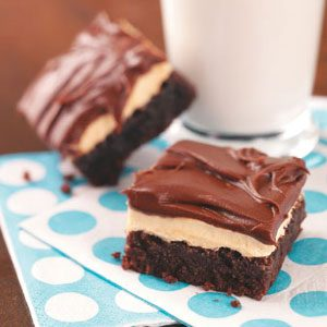 Fudgy Brownies with Peanut Butter Pudding Frosting Recipe