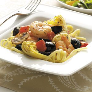 Mediterranean Shrimp and Linguine Recipe