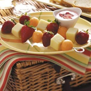 Fruit 'n' Cheese Kabobs with Strawberry Dip Recipe