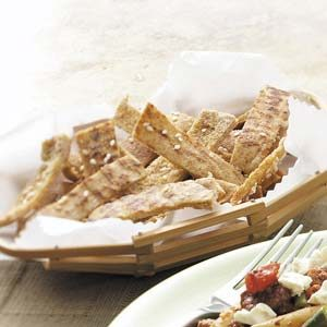 Garlic-Sesame Pita Chips Recipe