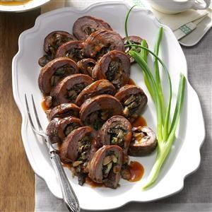 Mushroom-Stuffed Flank Steak Roll Recipe