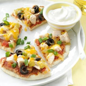 Santa Fe Chicken Pita Pizzas Recipe