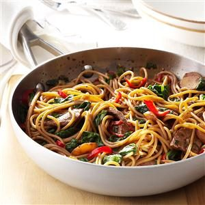 Beef & Spinach Lo Mein Recipe