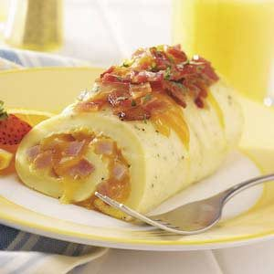 Ham and Cheese Omelet Roll Recipe