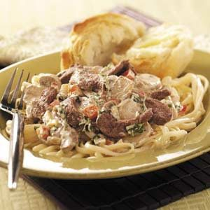 Mushroom Steak 'n' Linguine Recipe