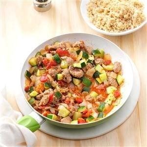 Day 8:  Sausage Zucchini Skillet