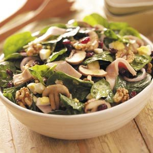 Turkey Spinach Salad with Maple Dressing Recipe