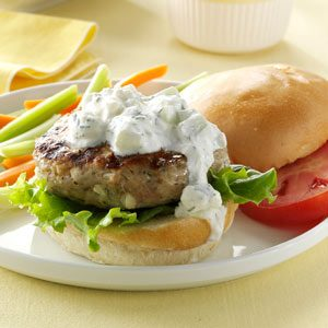 Greek-Style Chicken Burgers Recipe photo by Taste of Home