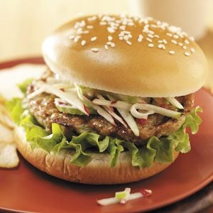 Buffalo Chicken Burgers with Tangy Slaw Recipe