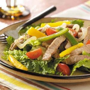 Warm Pork Fajita Salad Recipe