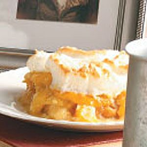 Meringue-Topped Peach Bread Pudding Recipe