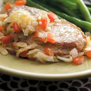 Pork Chops with Cabbage 'n' Tomato Recipe