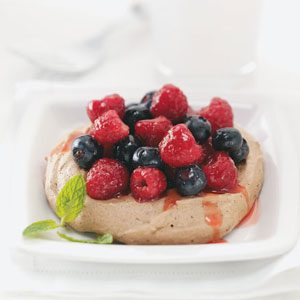 Cocoa Meringues with Berries