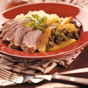 Pork with Curried Apple & Couscous Recipe photo by Taste of Home
