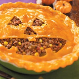 Jack-o'-Lantern Sloppy Joe Pie
