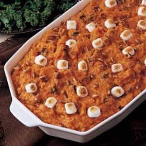 Nutty Sweet Potato Bake with Raisins and Marshmallows