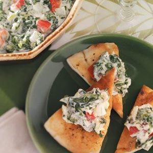Hot Spinach Spread with Pita Chips Recipe