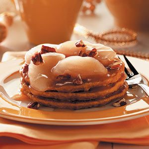 Pumpkin Pancakes with Apple Cider Compote