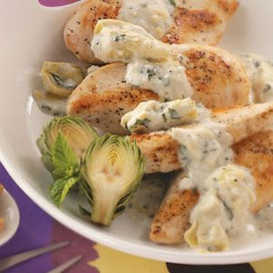 Chicken with Basil Artichoke Sauce Recipe