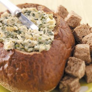 Artichoke Spinach Dip in a Bread Bowl Recipe