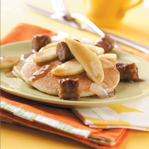 Glazed Apple and Sausage with Pancakes Recipe