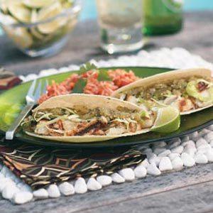 Grilled Halibut Tacos with Salsa Verde Recipe