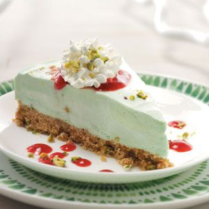Frozen Pistachio Dessert with Raspberry Sauce Recipe