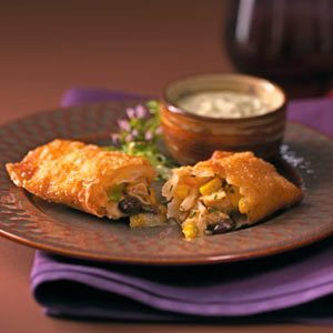 Southwest Egg Rolls & Cool Avocado Dip