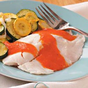 Tilapia & Veggies with Red Pepper Sauce Recipe