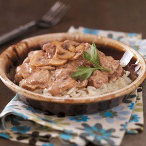 Mushroom Beef Tips with Rice Recipe