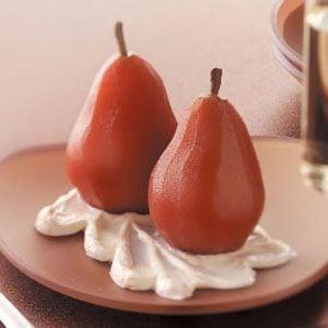 Poached Pears with Orange Cream Recipe
