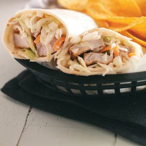 Sweet Onion Slaw Pork Wraps