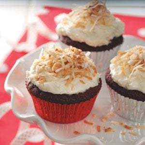 Red Velvet Cupcakes with Coconut Frosting