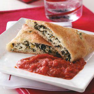 Three-Cheese Spinach Calzones Recipe