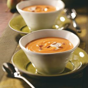 Pear Squash Bisque with Cinnamon Cream Recipe