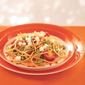 Linguine with Edamame and Tomatoes Recipe