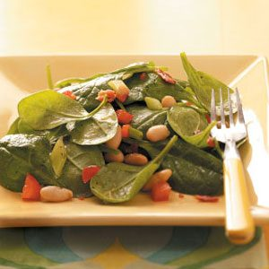 Spinach Bean Salad with Maple Dressing Recipe