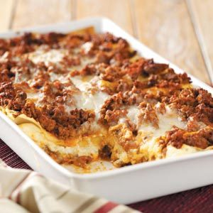 Six cheese lasagna recipe taste of home for Different kinds of lasagna recipes