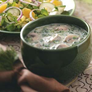 Mushroom-Spinach Cream Soup Recipe