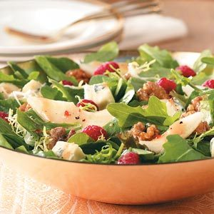 Raspberry Pear Salad with Glazed Walnuts Recipe