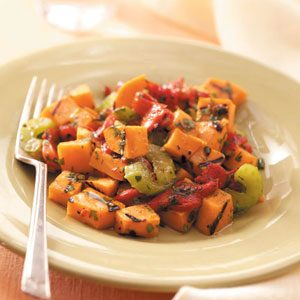 Grilled Sweet Potato and Red Pepper Salad Recipe