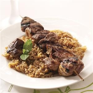 Lamb Kabobs with Bulgur Pilaf Recipe