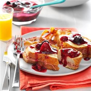 Stuffed French Toast with Maple Berry Sauce