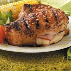 Grilled Cordon-Bleu Pork Chops Recipe