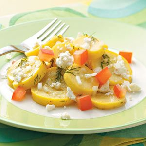 Summer Squash and Tomato Side Dish with Feta Recipe