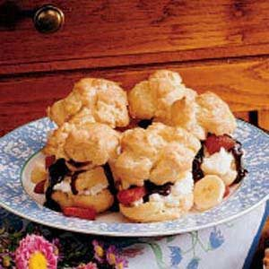 Banana Split Cream Puffs Recipe