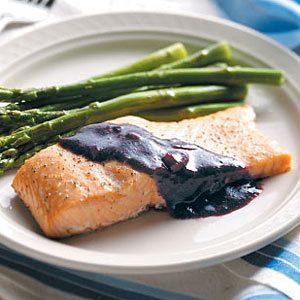 Cedar Plank Salmon with Blackberry Sauce Recipe photo by Taste of Home
