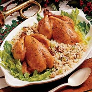 Cornish Hens with Rice Dressing Recipe