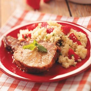 Glazed Pork with Strawberry Couscous Recipe
